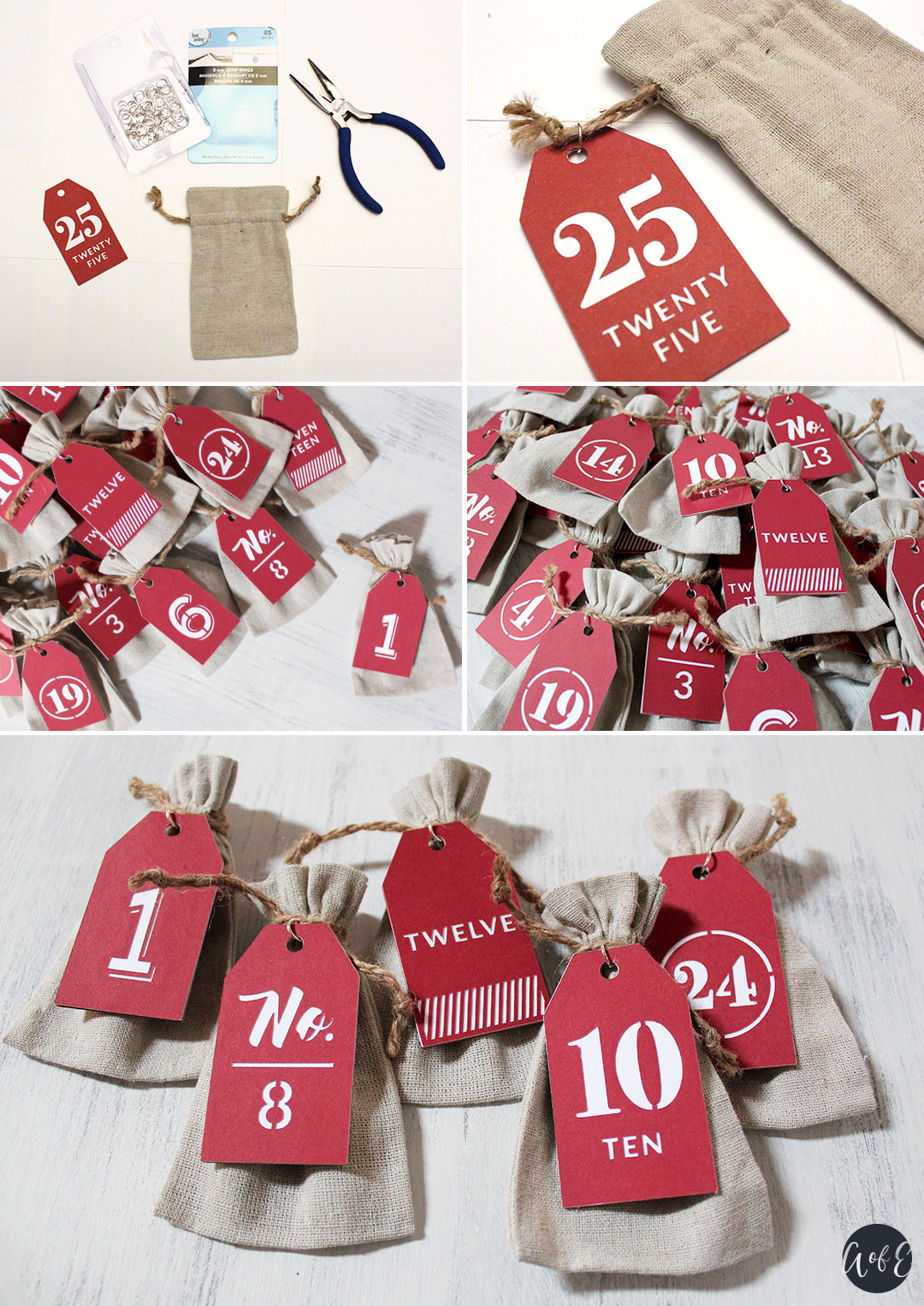 Step 11: Attach Tags to Advent Calendar Bags