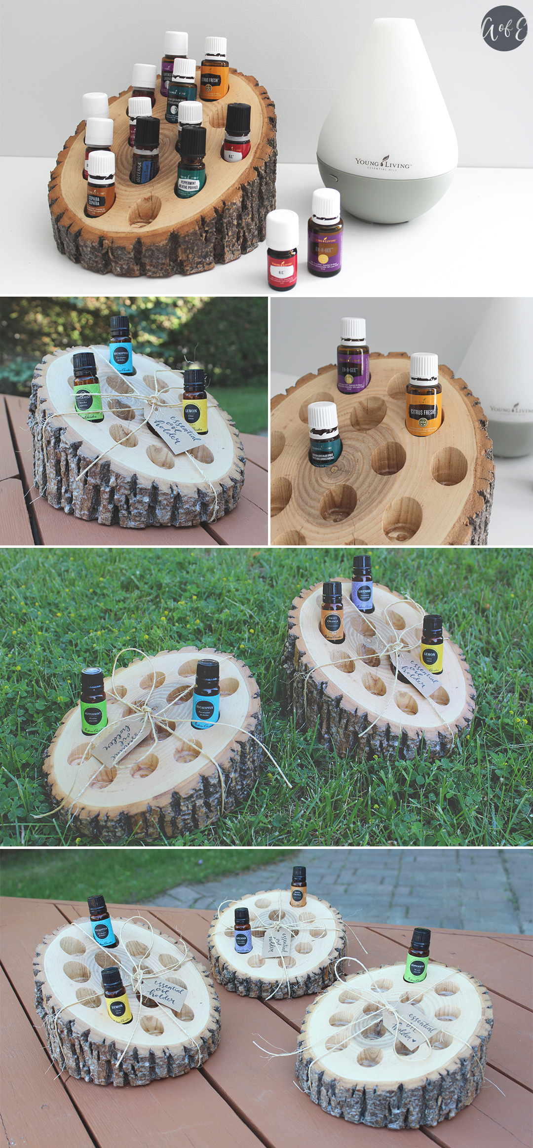 Completed wooden rustic essential oil holder