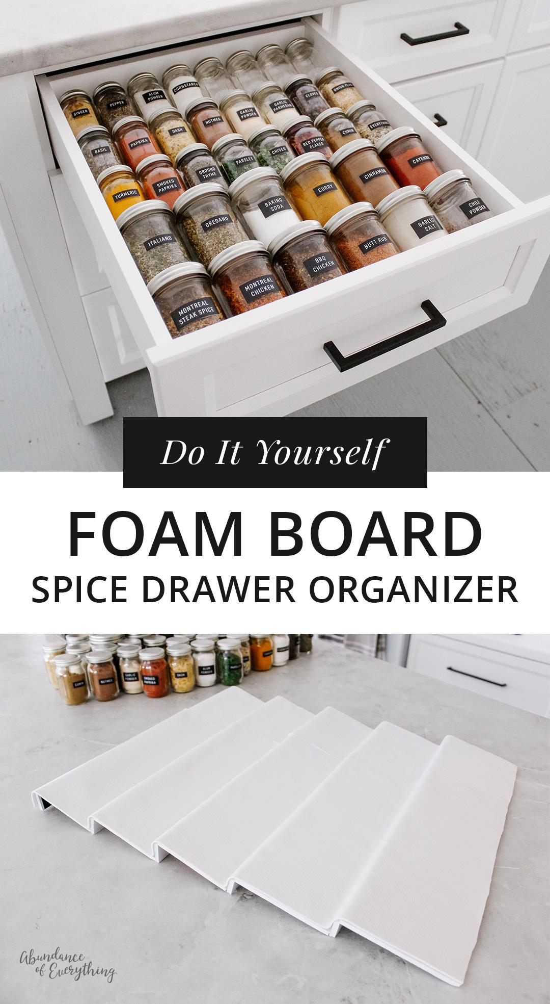 Do it yourself: Foam Board Spice Drawer Organizer