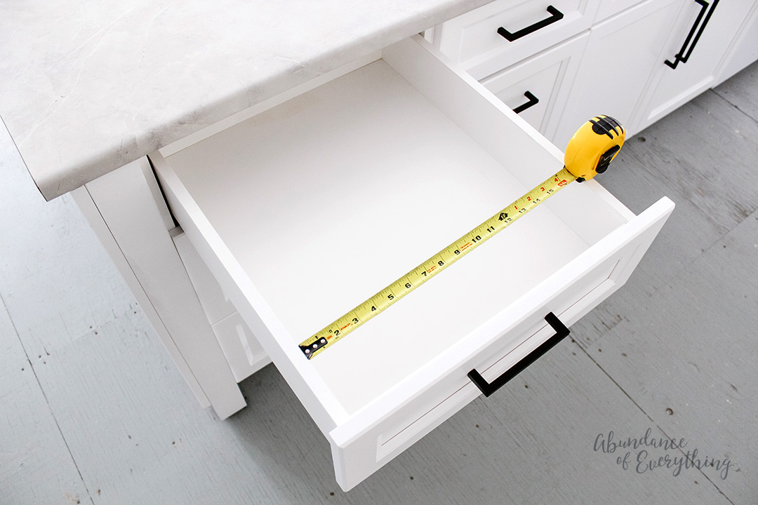 Measure the width of your drawer