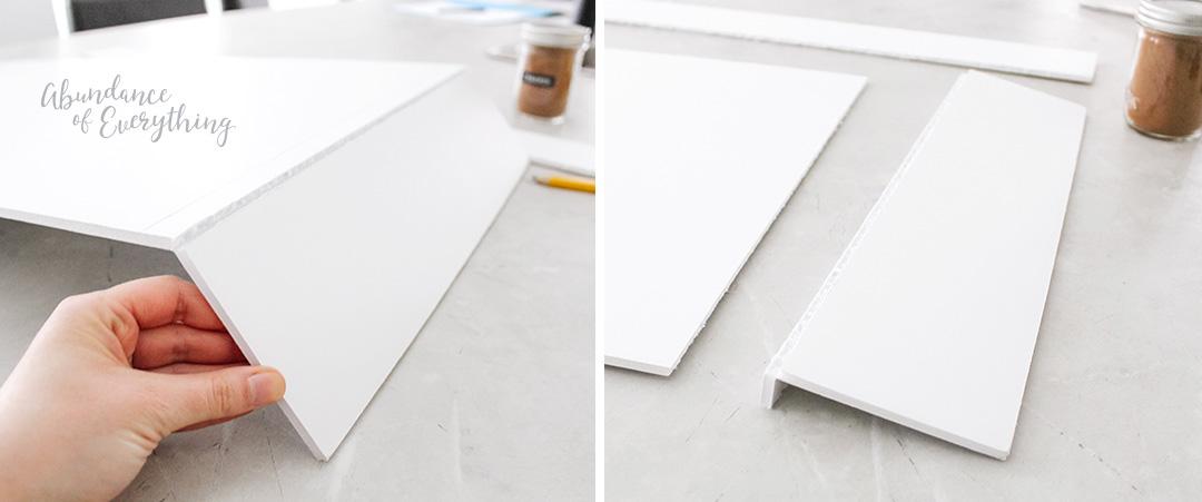 Score and Cut the Foam Board to create the first spice shelf.