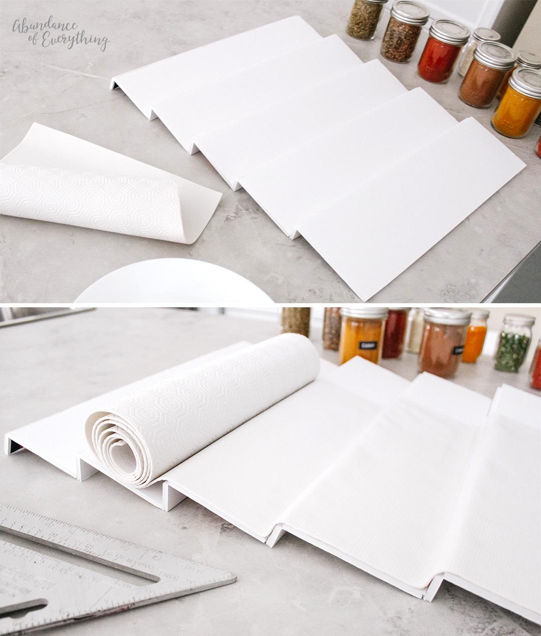 Hot glue drawer liner to spice shelf.
