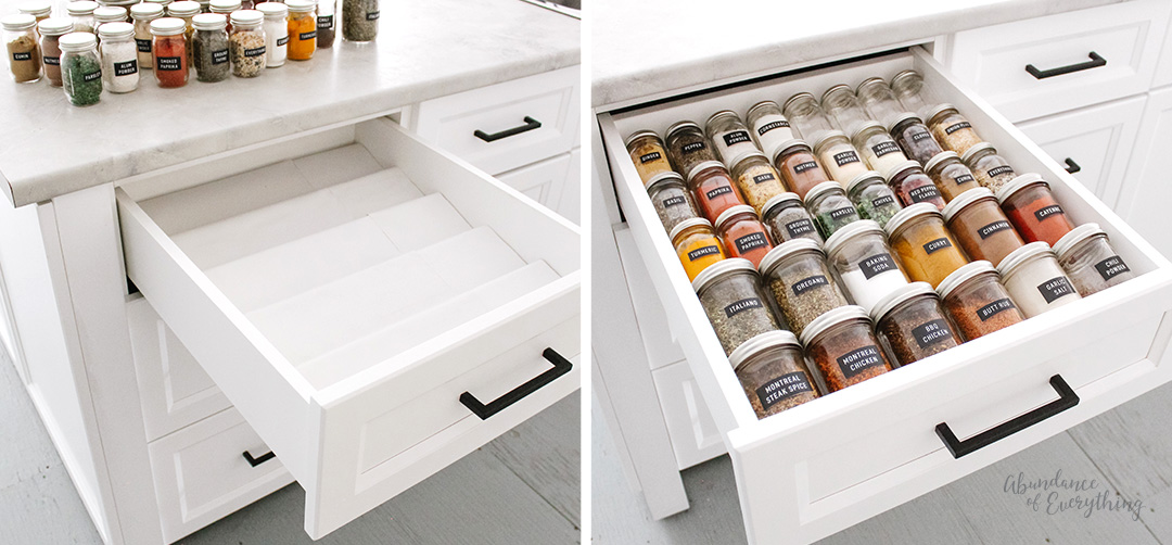 Place spice shelf in drawer and fill with spice jars