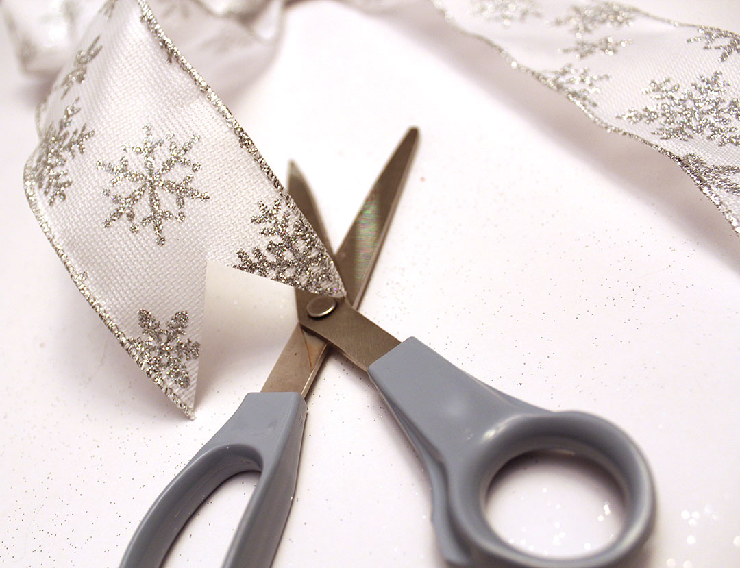 cut your bow's ribbon ends to make them pointed