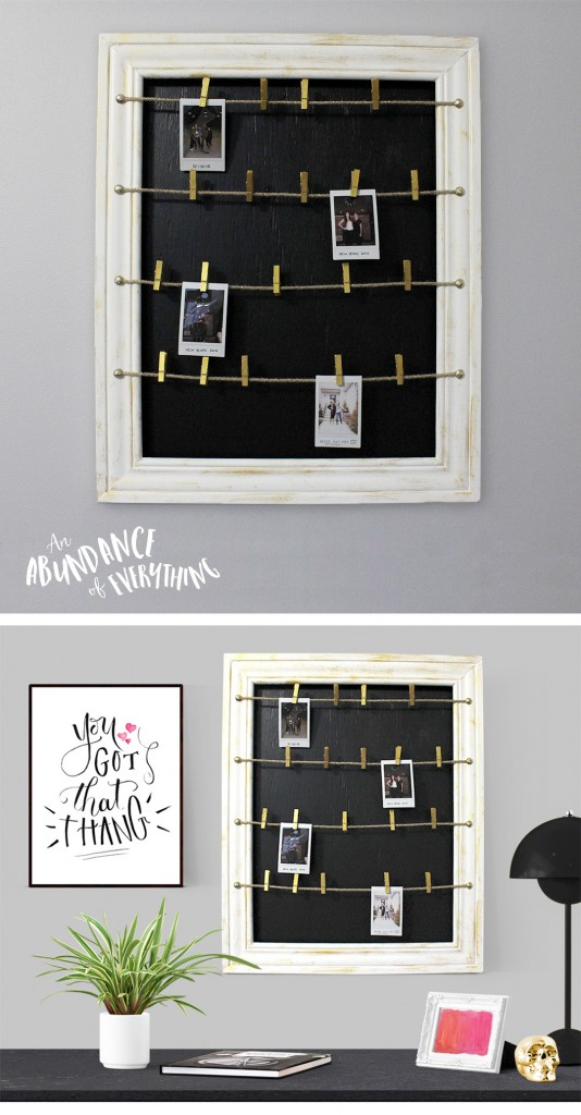 do it yourself clothesline polaroid picture frame