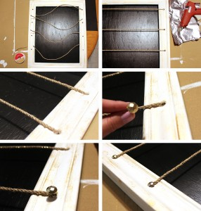 Step 9: Add the clothesline string and decorative upholstery pins.