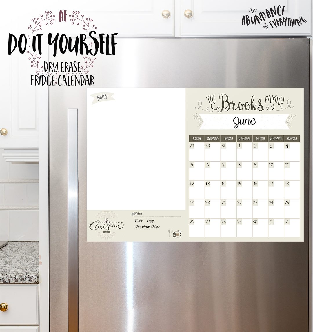 Do it Yourself Dry Erase Fridge Calendar