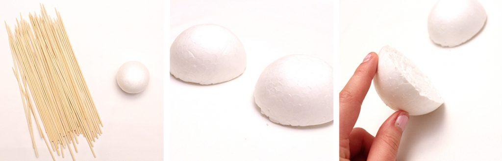 cut the foam ball in half