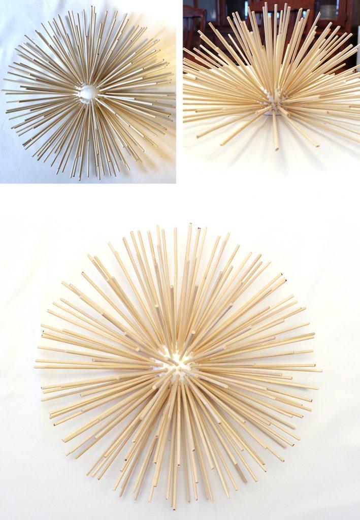stick skewers in sea urchin