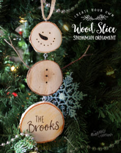 Create your own wood slice snowman ornament