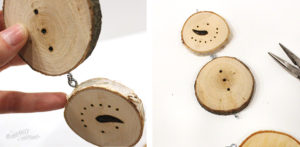 Create your own wood slice snowman ornament - Step-8 Assemble the Snowman using Eyelets head and body